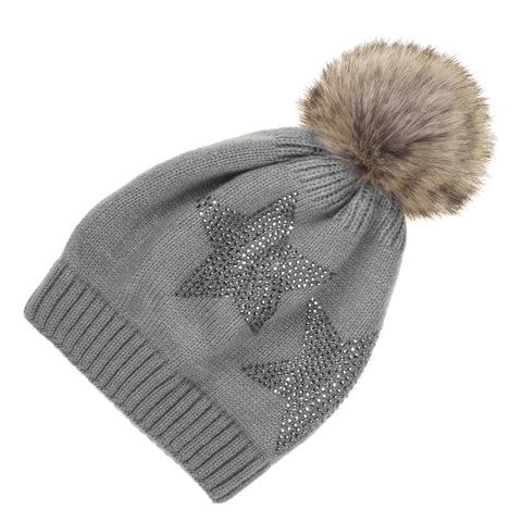 CC Beanie Geometric Pom Hat in Black