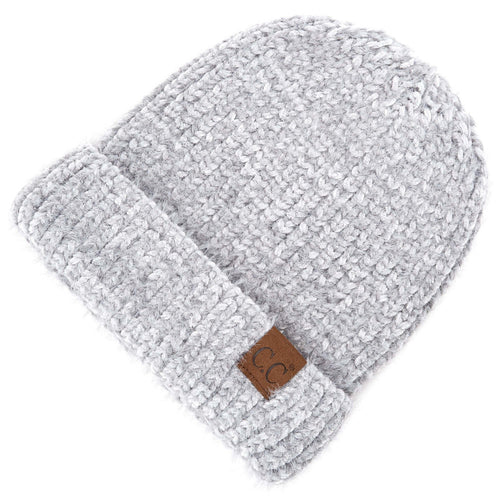 CC Beanie Chenille Hat in Natural Grey