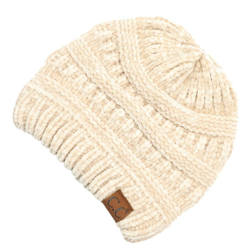 CC Beanie Chenille Ribbed Hat in Beige