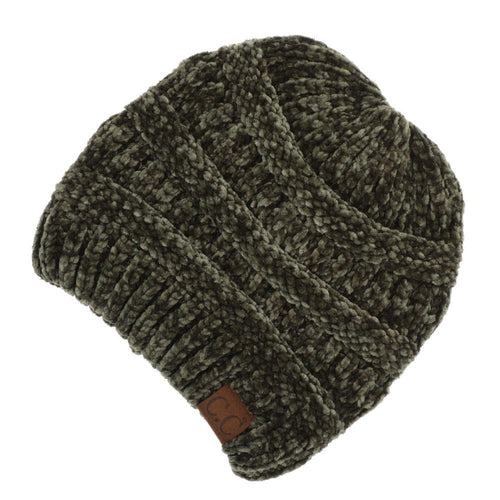 CC Beanie Chenille Ribbed Hat in New Olive