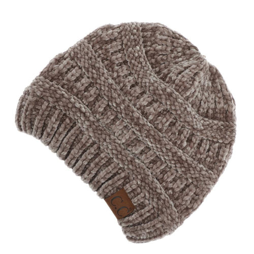 CC Beanie Chenille Ribbed Hat in Taupe
