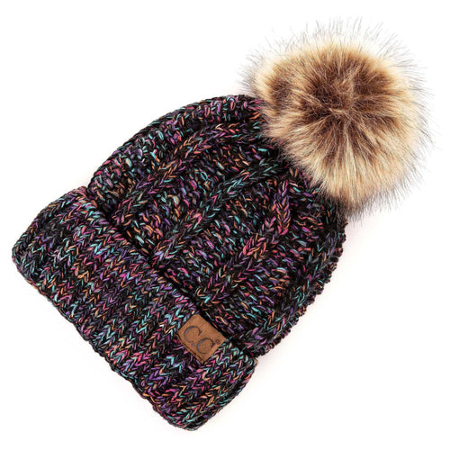 CC Beanie Lined Pom Hat in Midnight