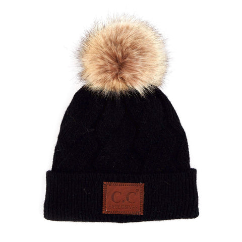 CC Beanie Lined Pom Hat in Dark Gray