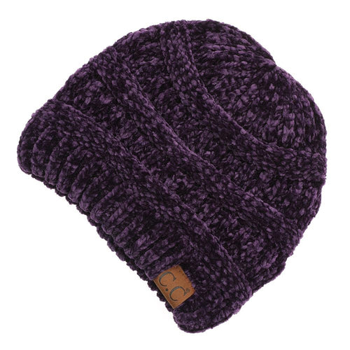 CC Beanie Chenille Ribbed Hat in Purple