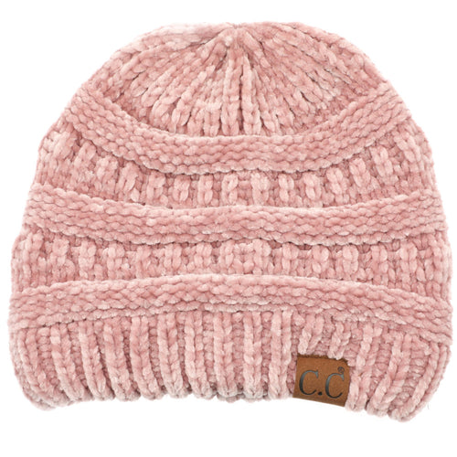 CC Beanie Chenille Ribbed Hat in Rose