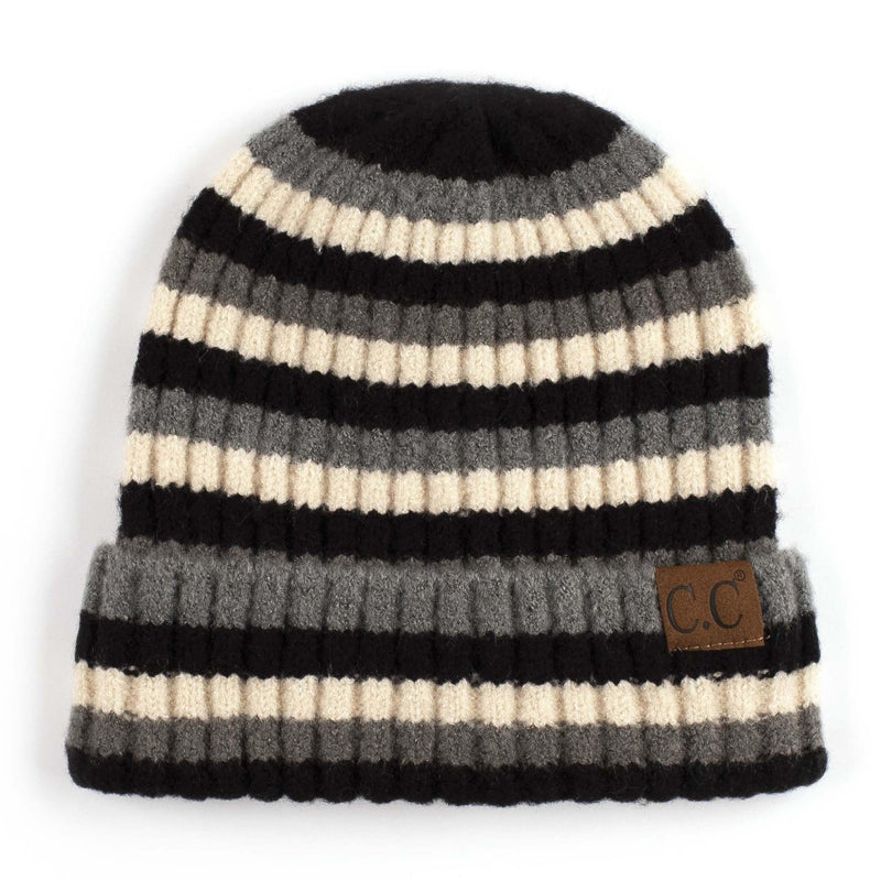 CC Beanie Multi Color Striped Hat in Black