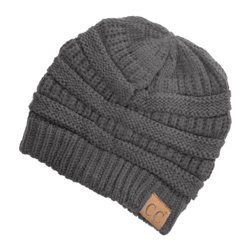 CC Beanie Solid Ribbed Hat in Dark Gray