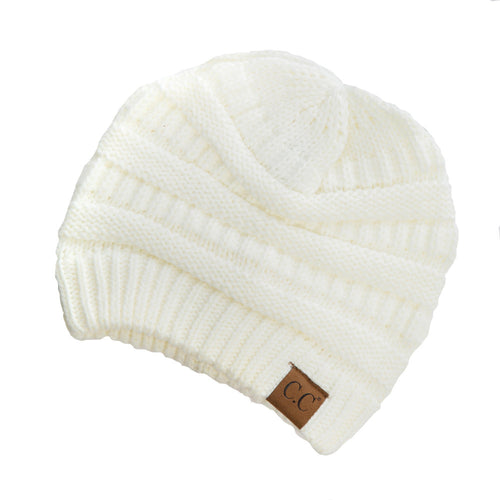 CC Beanie Solid Ribbed Hat in Ivory