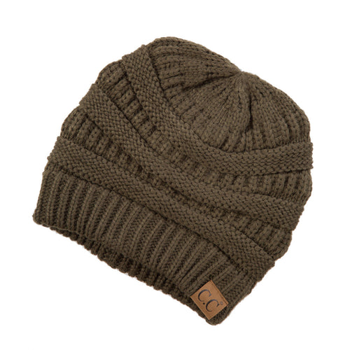 CC Beanie Solid Ribbed Hat in New Olive