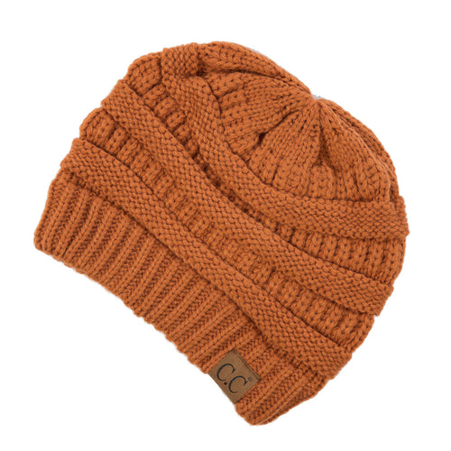 CC Beanie Solid Ribbed Hat in Rust