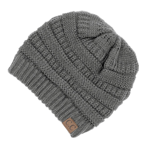 CC Beanie Solid Ribbed Hat in Light Gray