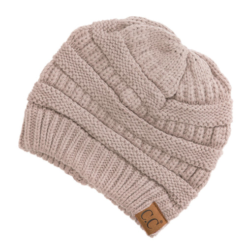CC Beanie Solid Ribbed Hat in Beige