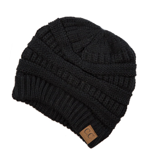 CC Beanie Solid Ribbed Hat in Black