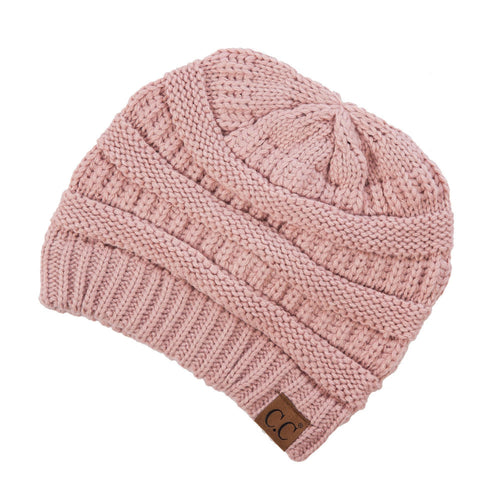 CC Beanie Solid Ribbed Hat in Rose