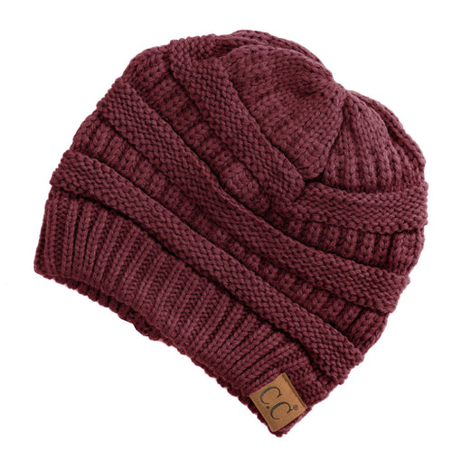 CC Beanie Solid Ribbed Hat in Maroon