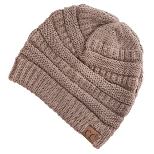 CC Beanie Solid Ribbed Hat in Taupe