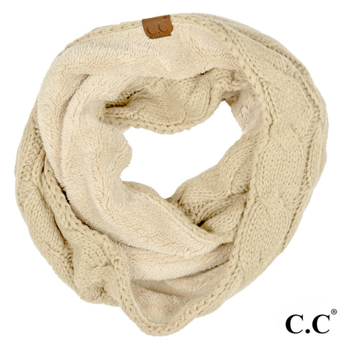 CC Beanie Lined Infinity Scarf in Beige