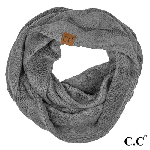 CC Beanie Lined Infinity Scarf in Dark Gray