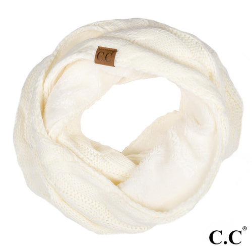 CC Beanie Lined Infinity Scarf in Ivory