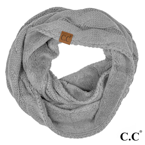 CC Beanie Lined Infinity Scarf in Light Gray