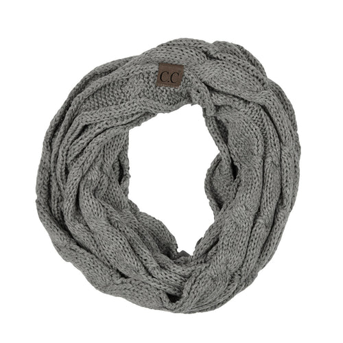 CC Beanie Infinity Scarf in Light Gray