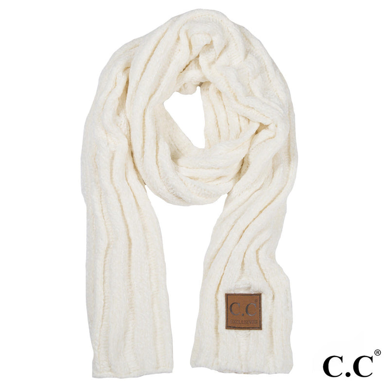 Chenille Ribbed Scarf in Ivory