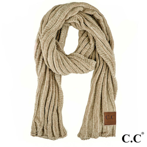 Chenille Ribbed Scarf in Taupe