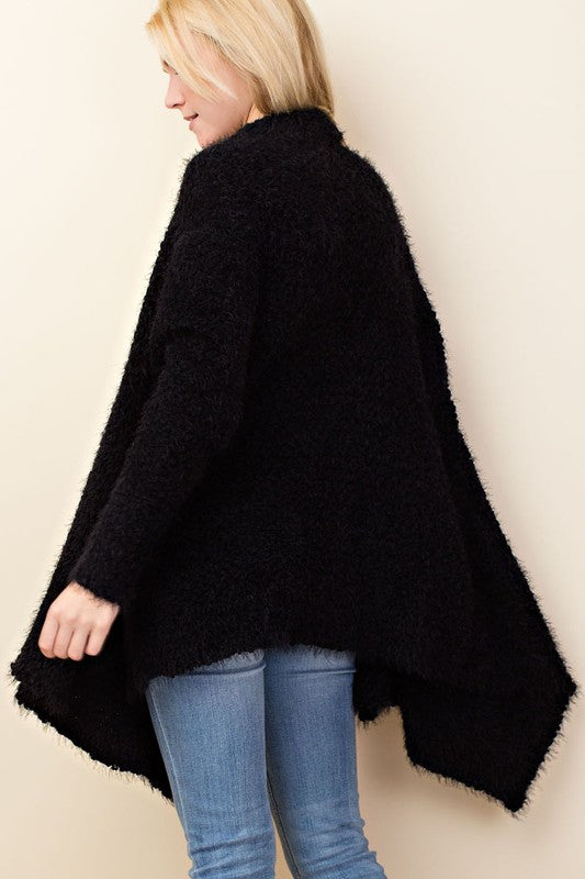 Elise Eyelash Flyaway Knit Cardigan in Black