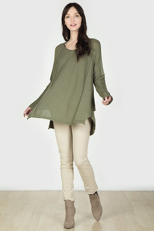 Zoe Inside-Out Seam Sweater in Olive