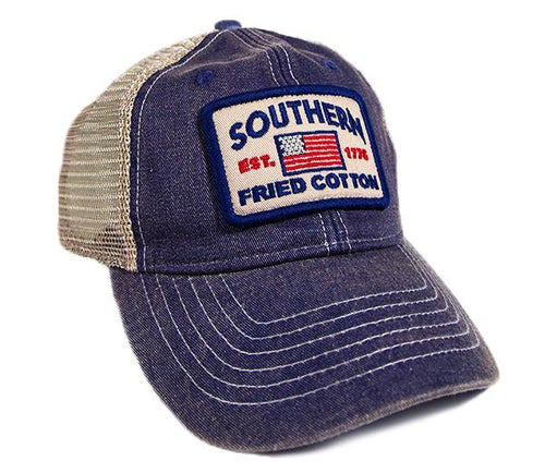 "Southern Fried Cotton ""Spirit of '76"" Trucker Hat in Blue"