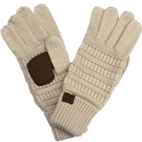 CC Beanie Solid Ribbed Glove in Beige