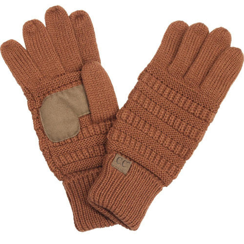 CC Beanie Solid Ribbed Glove in Rust