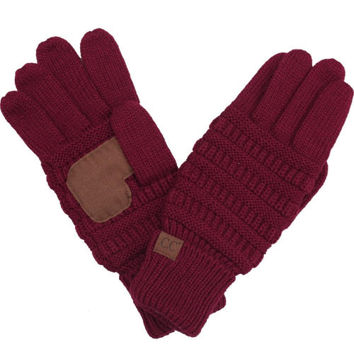 CC Beanie Solid Ribbed Glove in Burgundy
