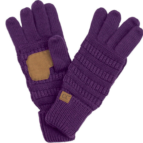 CC Beanie Solid Ribbed Glove in Purple