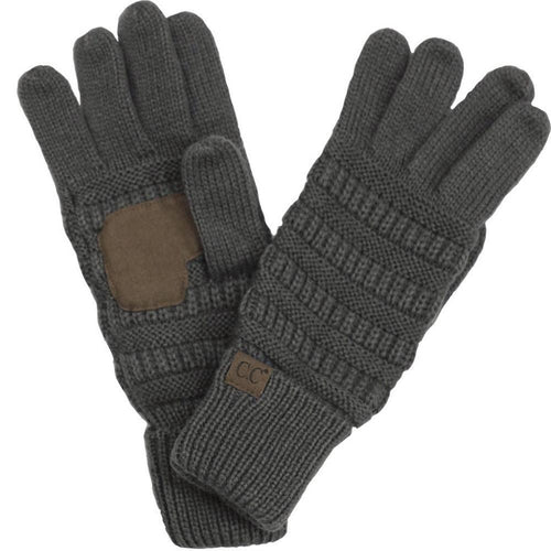 CC Beanie Solid Ribbed Glove in Dark Gray