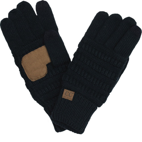 CC Beanie Solid Ribbed Glove in Black