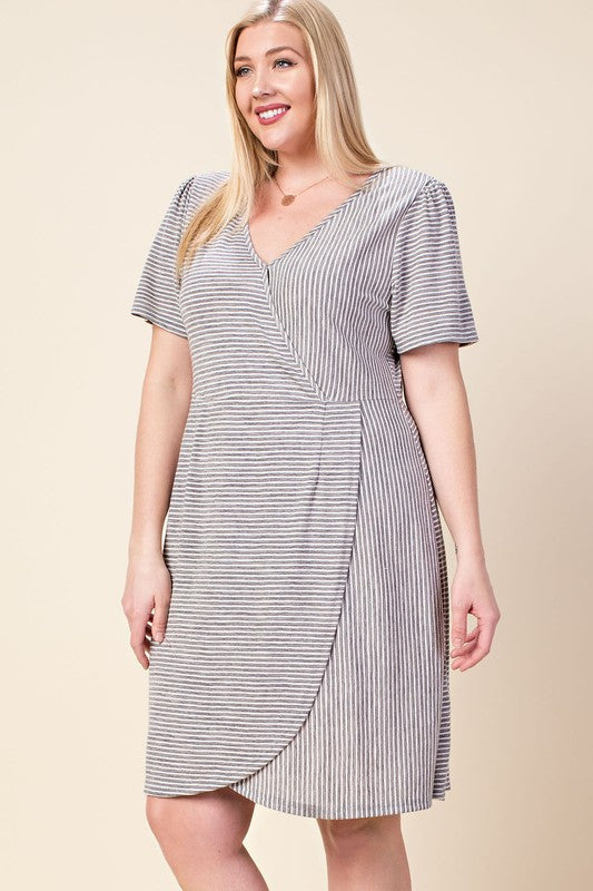 Quinn PLUS Wrap Dress in Heather Gray – Spruced Boutique 311e8b718