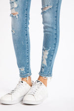 Nora Mid-Rise Distressed Skinny Ankle Jean by KanCan