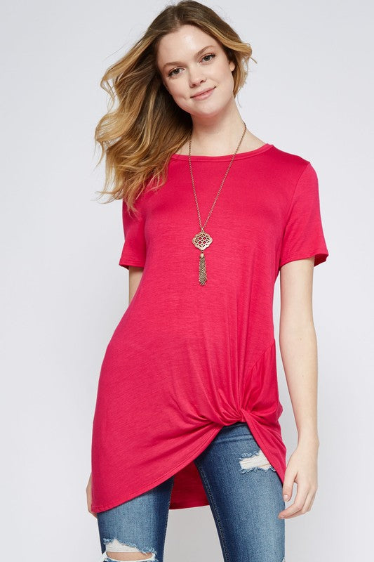 Angelina Knot Front Top in Hot Pink