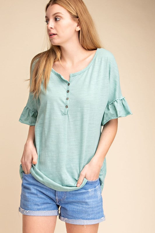 Marilyn Ruffle Sleeve Top in Seafoam