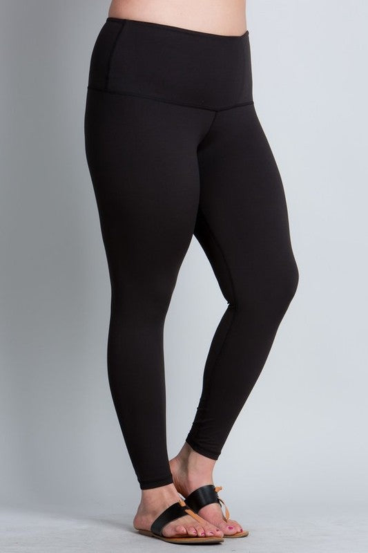 Yoga Waistband CURVY Leggings in Black