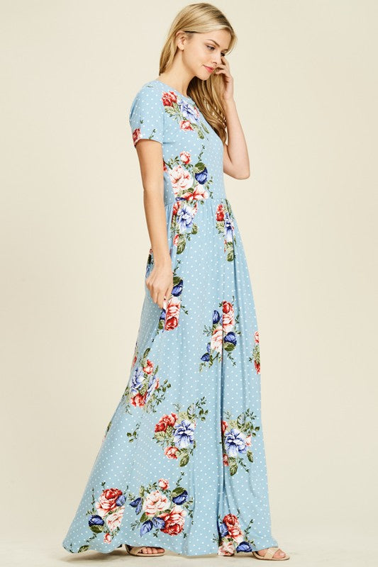 Abigail Floral and Polka Dot Maxi in Blue