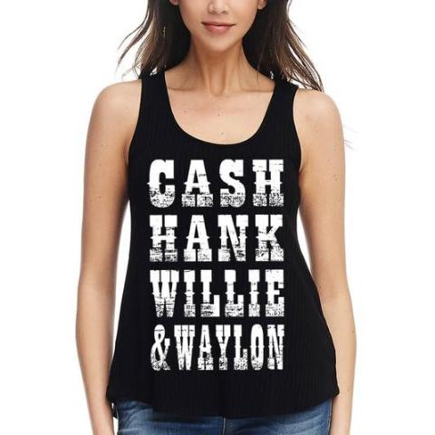 """Cash-Hank-Willie & Waylon"" Tank Top in Black"