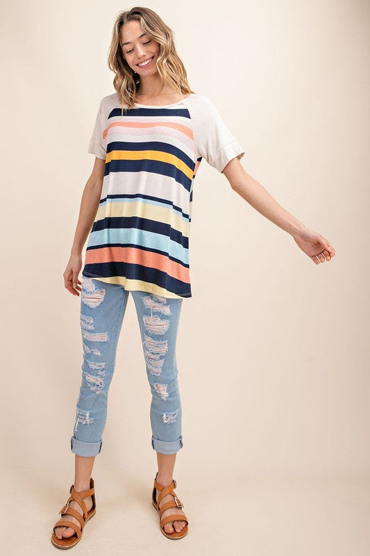 Jessica Striped Top in Navy and Coral