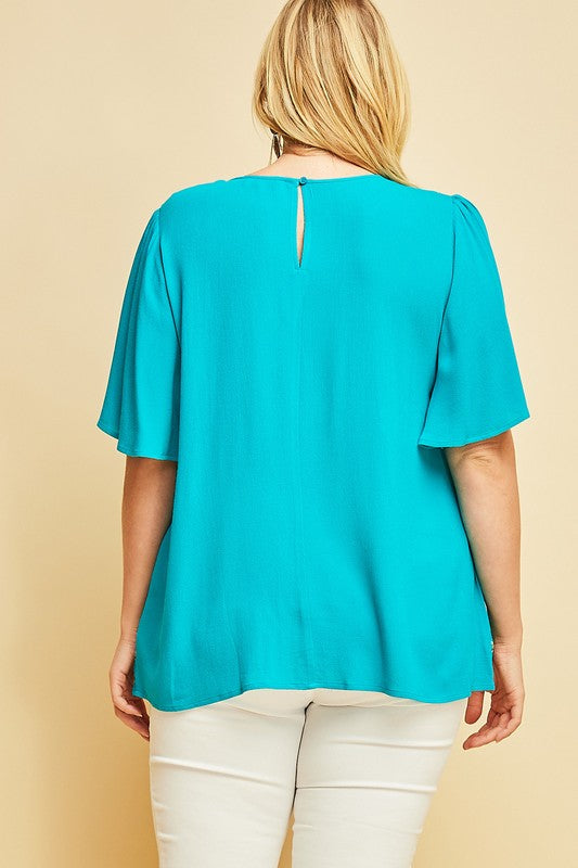 Arden PLUS Embroidered Top in Teal