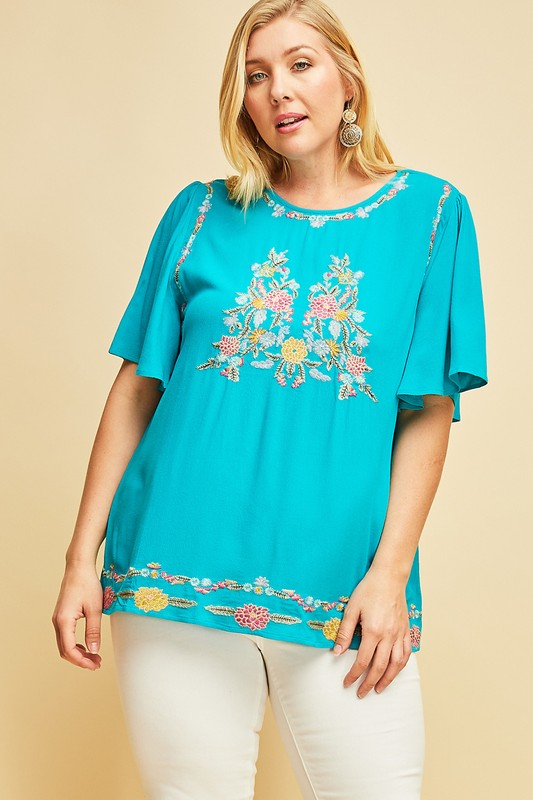 1aa32b4fd66 Arden PLUS Embroidered Top in Teal – Spruced Boutique