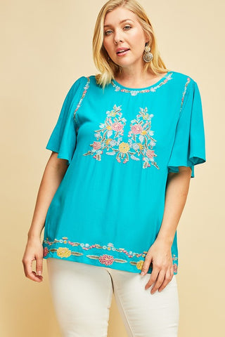 Tara Paisley Top in Aqua