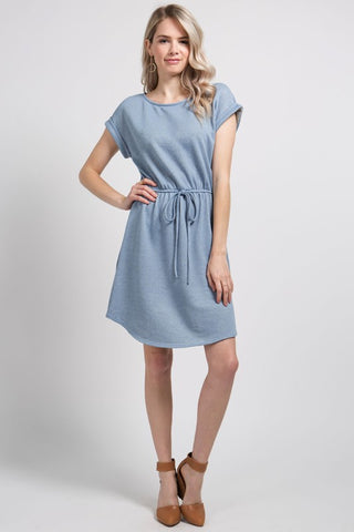 Cassie Cap Sleeve Lace Dress in Dusty Periwinkle
