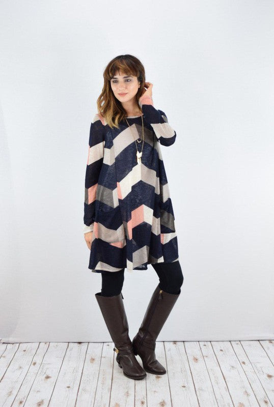 Arianna Chevron Print Dress in Navy