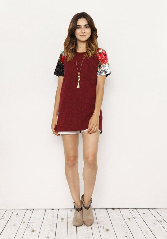 Taylor Knit Tunic with Velvet Floral Sleeves in Burgundy